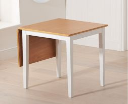 Mara 75cm (113cm) Solid Hardwood & Painted Extending Dining Table - Light Oak & White (Use Only With Pt30216)