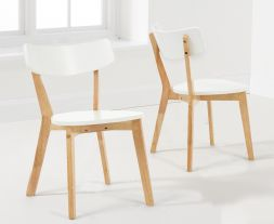 Marcham White & Oak Dining Chairs (Pairs)