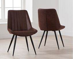 Moda Antique Brown Fabric Dining Chair