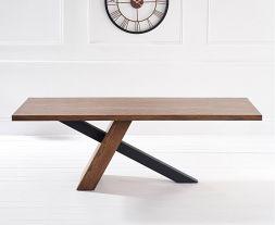 Montana 180cm Unusual Oak & Veneer Dining Table With Brushed Stainless Steel Black Leg