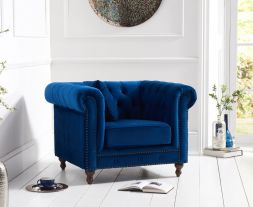 Montrose Blue Plush Fabric Armchair