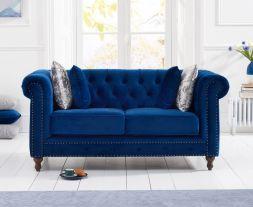 Montrose Blue Plush Fabric 2 Seater Sofa