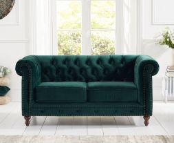 Montrose Green Plush Fabric 2 Seater Sofa