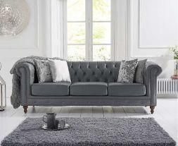 Montrose Grey Leather 3 Seater Sofa