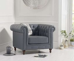 Montrose Grey Leather Armchair