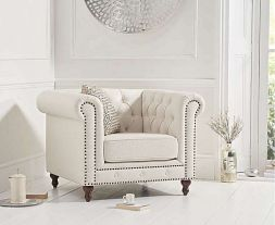 Montrose Ivory Linen Armchair