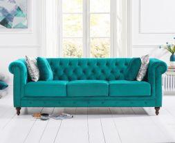 Montrose Teal Plush 3 Seater Sofa