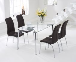 Munich 130cm Glass Dt With 4 Brown California Chairs
