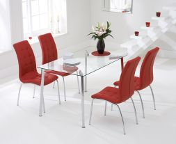 Munich 130cm Glass Dt With 4 Red California Chairs