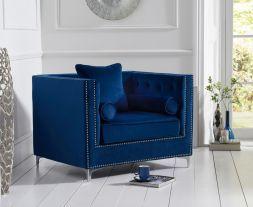 New England Blue Velvet Armchair