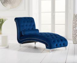 New England Blue Velvet Chaise Longue