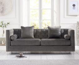 New England Grey Velvet 4 Seater Sofa
