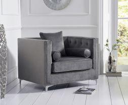 New England Grey Velvet Armchair