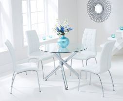 Odessa 100cm Glass Dt With 4 Ivory-White California Chairs