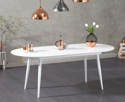 Opel Extending White High Gloss Dining Table