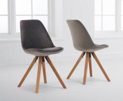 Oliver Grey Velvet Square Leg Dining Chair (Pairs)