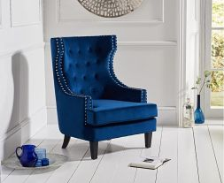 Portia Blue Velvet Accent Chair