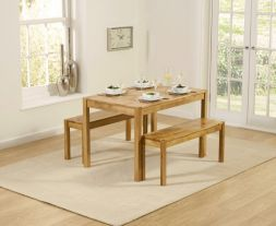 Promo Solid Oak 120cm Dining Table With 2 Medium Benches
