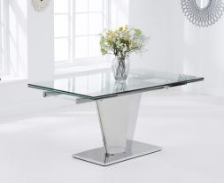 "Lucille 160 €"" 220cm Extending Glass Dining Table"