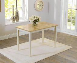 "Chichester Solid Hardwood & Painted 115cm Dining Table €"" Oak & Cream"