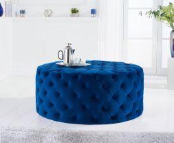 Montrose blue velvet round footstool