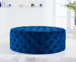 Montrose blue velvet large round footstool