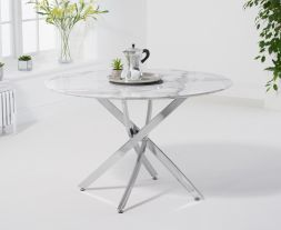 Clara Round 120cm White Marble Table