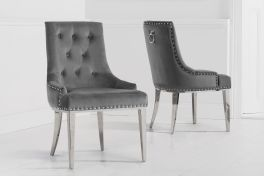 Toni grey velvet dining chair (pairs)