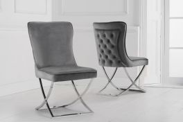 Gabriella grey velvet dining chair (pairs)