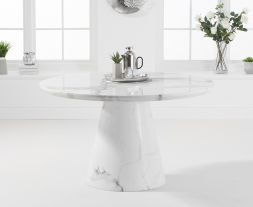 Ramiro 130cm Round White Marble Dining Table