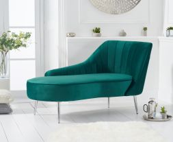 Jara Right Facing Arm Green Velvet Chaise