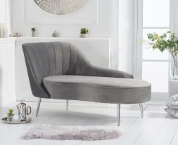 Jara Left Facing Arm Grey Velvet Chaise