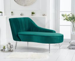 Jara Left Facing Arm Green Velvet Chaise