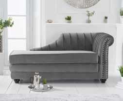 Laurn Right Facing Arm Grey Velvet Chaise