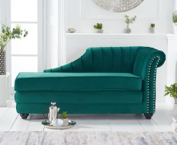 Laurn Right Facing Arm Green Velvet Chaise