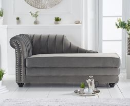 Laurn Left Facing Arm Grey Velvet Chaise