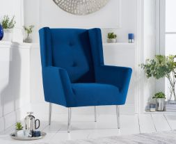 Brooklyn Blue Velvet Accent Chair