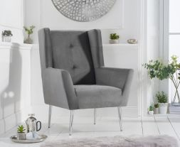 Brooklyn Grey Velvet Accent Chair
