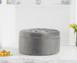 New England grey velvet footstool