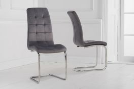 Lucy hoop leg grey velvet dining chair (pairs)