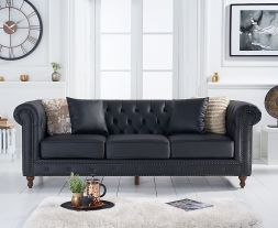 Montrose Black Leather 3 Seater Sofa