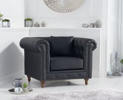 Montrose Black Leather Armchair
