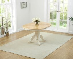 Elstree Solid Hardwood & Painted 100cm Extending Dining Table (Oak & Cream)