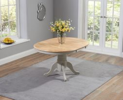 Elstree Solid Hardwood & Painted 100cm Extending Dining Table (Oak & Grey)