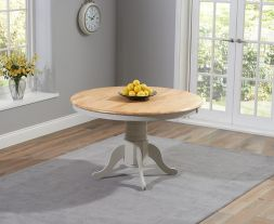 Elstree Solid Hardwood & Painted 120cm Round Dining Table (Oak & Grey)