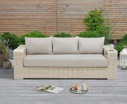 Columbine Ivory/Cream Wicker Garden 3 Str Sofa