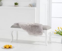 Sienna white small bench with grey padded seat (to go with the 130cm table)