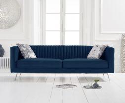 Danielle Blue Velvet 3 Seater Sofa
