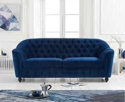 Carrie Blue Velvet 3 Seater Sofa
