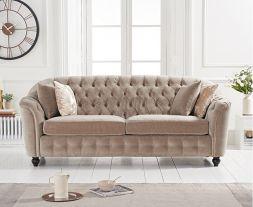 Carrie Mink Velvet 3 Seater Sofa